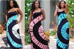 European and American dress print long skirt sling thin strap dress long dress skirt s pink