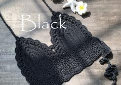 Hand hook knit bikini wrap chest black s