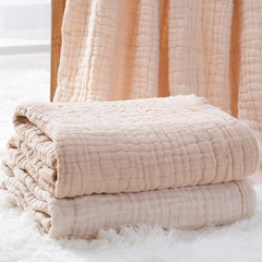 Baby gauze bath towel 6 layers of colored cotton light absorbent cover is not fluorescent PINK 105*105CM