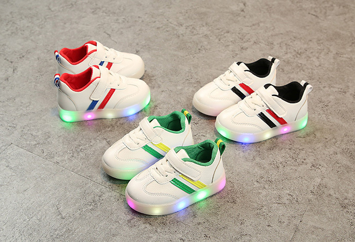 Spring Baby boy fashion light board shoes casual shoes girl kids LED flash sneakers black 24