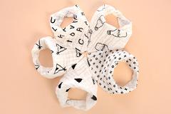 New children's cotton 4 layer printed triangle bib no fluorescent snap slobber 01 Six per bag