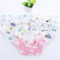 Six-layer petal bib 360-degree rotating bib cotton baby saliva towel baby wash gauze bib 01 6 per bag