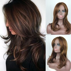 Wig gold brown highlights gradient long curly hair fluffy pear roll inside long straight hair Golden brown one size