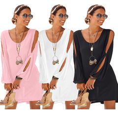 New dress deep V-neck loose shoulder long sleeve casual beach dress s black