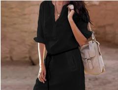 European and American women's long-sleeved V-neck tunic dress black s