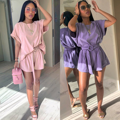 Loose round neck color bat sleeves Belt Two-piece shorts Casual suit pink one size