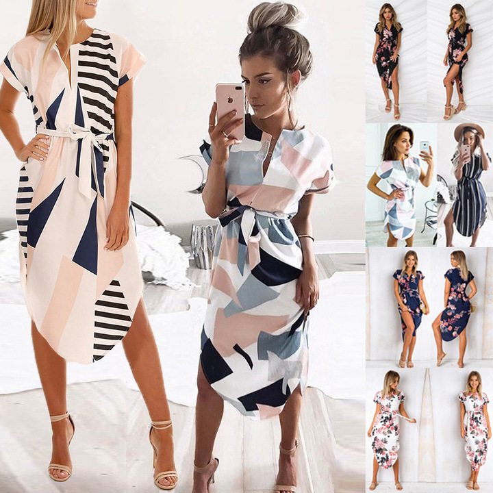 2019 spring and summer hot sale sexy V-neck box print long dress s black