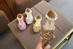 New girls shoes baby princess shoes children's casual shoes sequins shoes pearl dance shoes gold 22