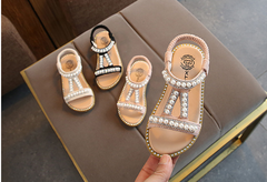 2019 new girls pearl sandals baby peep princess shoes small children's slip pink 21
