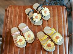 Girls Sandals Flowers Princess Shoes Baby Korean Open Toe Slippers Sun Flower Girls Sandals pink 21