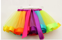 New European and American Rainbow Net Skirt Children's Dance Festival Show Skirt RAINBOW S