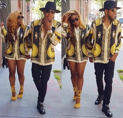 Hot printed shirt dress couple lovers coat picture s