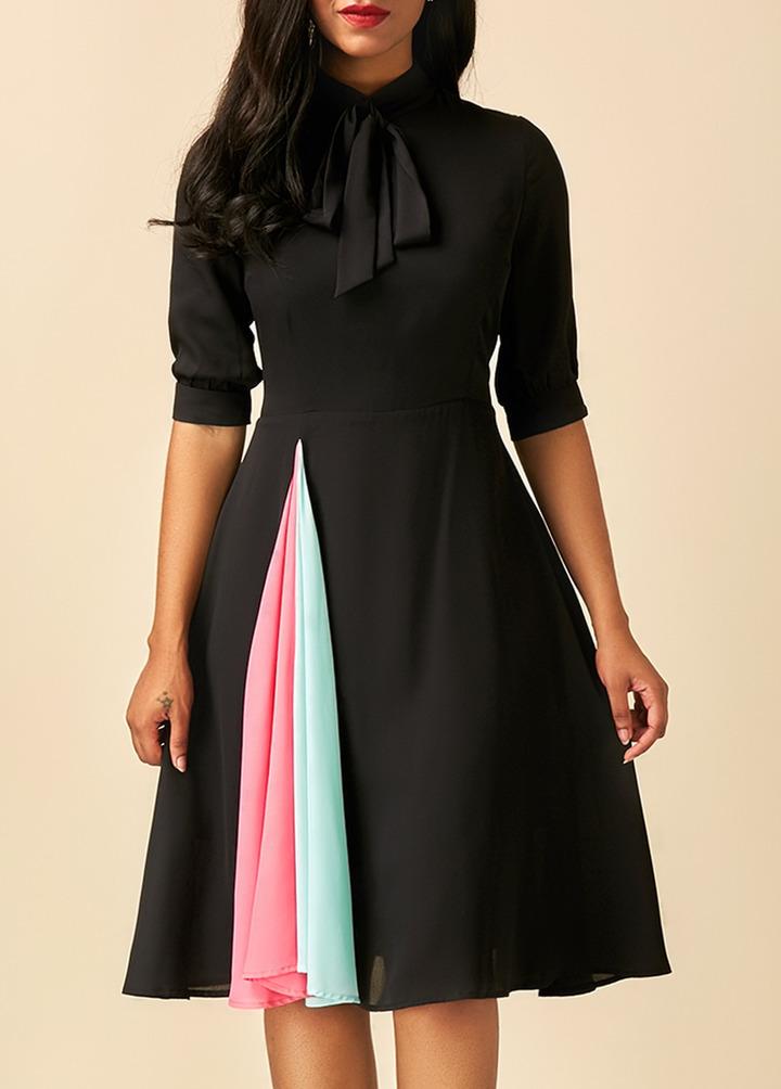 2019 summer sexy stitching lace-up women's dress xl black