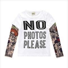 Boys and girls T-shirt children's clothing long-sleeved stitching hip-hop wind sashimi tattoo sleeve white 80cm cotton