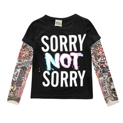 Boys and girls T-shirt children's clothing long-sleeved stitching hip-hop wind sashimi tattoo sleeve black letter 130cm cotton