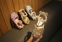 Spring and summer girls shoes bows sequins princess shoes children's casual shoes pearl dance shoes gold 21