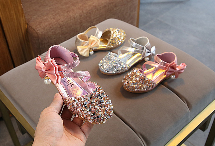 Spring and summer girls shoes bows sequins princess shoes children's casual shoes pearl dance shoes pink 21