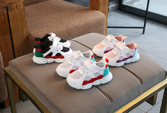 2019 new children's sports shoes baby net red bear shoes boys and girls mesh casual shoes white 22