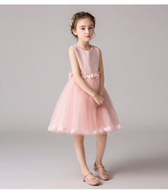 Children(baby) flower girl dress princess dress show fluffy white wedding dress pink 110cm