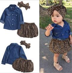 Girls imitation denim long-sleeved shirt + leopard short skirt + headband three-piece picture 80cm