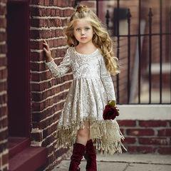 Ins new children's gold velvet long-sleeved tassel skirt medium children's dress picture 90cm