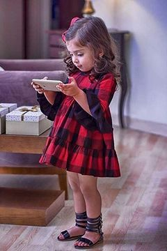 Ins baby girls plaid dress foreign trade children's plaid skirt picture 90cm