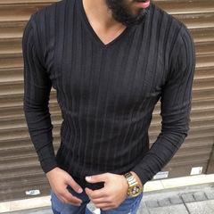 New V-neck Pit Long Sleeve Men's T-Shirt Rainy Season Solid Color Basecoat Top white m cotton