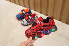 Children's sports shoes for boys and girls mesh breathable running shoes Spider-man LED lights RED 21