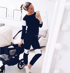Women's English letter printing sweater sports suit Spring and Autumn practical two-piece black s