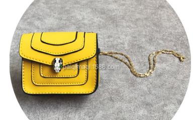 children's snake head bag Candy-colored fashion small cross-body bag Girls PU leather mini bag yellow