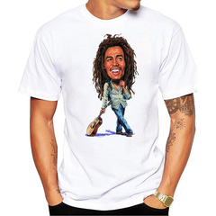 Bob Marley Rock Reggae Godfather  Tide brand men's printed short-sleeved T-shirt cartoon portraits m cotton
