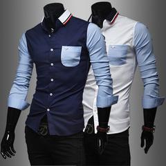 Tide man long-sleeved slim shirt knit collar men's shirt white m