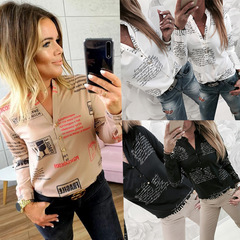 Spring, summer and autumn fashion printed letter V-neck button long-sleeved blouse shirt black s
