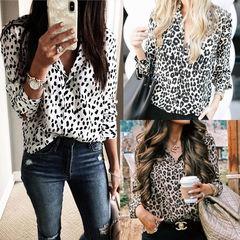 Fashion 3 color leopard long sleeve blouse Brown leopard s