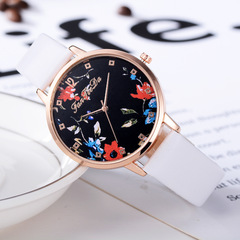 European and American PU belt ladies Chinese style floral quartz watch white average