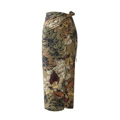 New trend women's high waist laced printed hip skirt picture color s