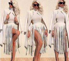 Long tassel belt Gypsy style belt female wild adjustable skirt PU leather girdle black