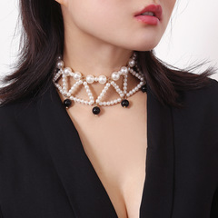 Personality retro generous beaded ornaments Simple wild pearl temperament geometric necklace female black pearl 42cm