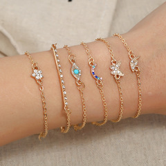 New hand jewelry fashion simple six-piece butterfly star moon Europe and America bracelet set ladies photo color average