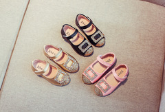 Girls leather princess shoes patent leather children's shoes soft bottom baby shoes pink 21