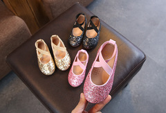 Girls leather shoes princess shoes student performance dance shoes crystal non-slip peas shoes pink 26