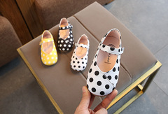 Children's shoes wild girls princess shoes polka dot peas shoes baby casual soft sole shoes white 15