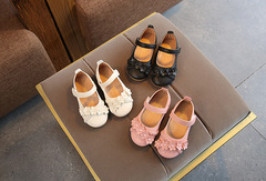 Girls shoes baby flowers woven princess shoes Korean version of the solid color breathable shoes white 21