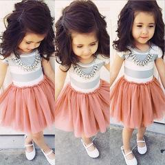 Children's wear European and American children's dress girls short-sleeved striped pink dress picture 90cm