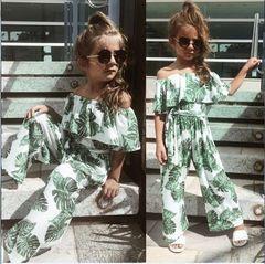 Summer models girls wear a word shoulder jumpsuit leaf print children's jumpsuit picture 100cm