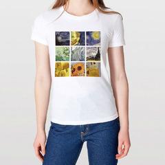tops t-shirt Van Gogh oil painting t-shirt white s