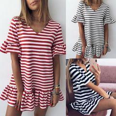 Dress Women's Fashion V-neck Striped Dress s black