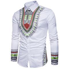 Fastion Men's National Style Printing 3D fashion leisure large size slim long sleeve shirts white m
