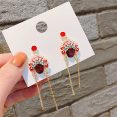 Fashion ear jewelry silver needle red diamonds mask national wind tassel earrings earrings picture average