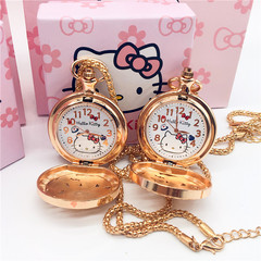 Hello kitty  girl cartoon table  hollow rose gold flip diamond watch pocket watch necklace table picture average